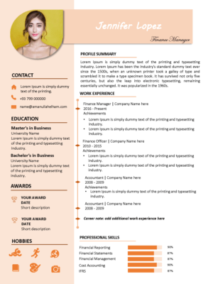 modern resume template pink
