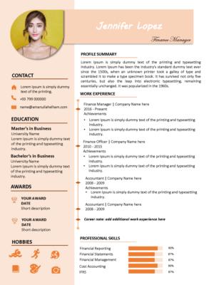 modern resume template pink