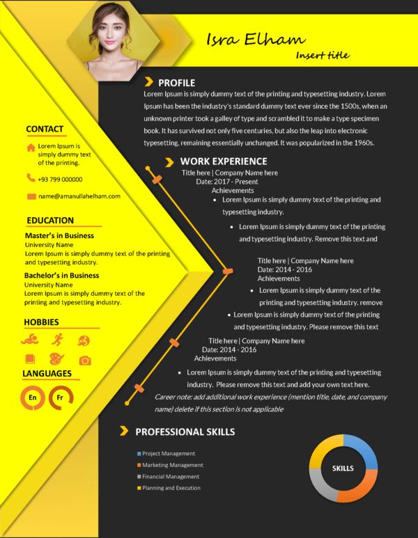 modern resume template dark